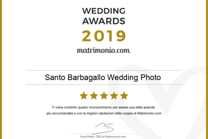 Siamo i vincitori del Wedding Awards 2019 di matrimonio.com